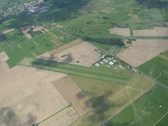 Matamata airfield with Waharoa in view top left